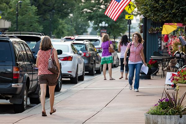 People enjoying downtown Parker.